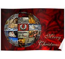 Merry Christmas Globe Poster