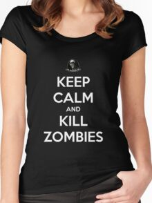 Keep Calm And Kill Zombies (Shirt & Stickers - Black) Women's Fitted Scoop T-Shirt