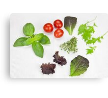 green Salad and spices and tomatoes Canvas Print