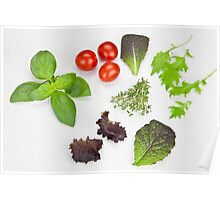 green Salad and spices and tomatoes Poster