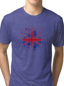 UK Union Jack Splash Colors Flag Tri-blend T-Shirt