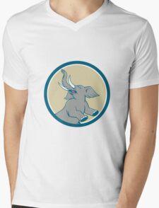 Elephant Prancing Circle Cartoon Mens V-Neck T-Shirt