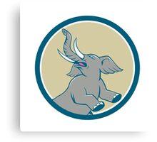 Elephant Prancing Circle Cartoon Canvas Print