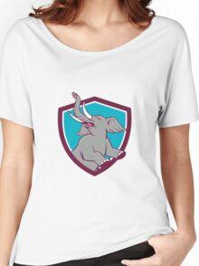 Elephant Prancing Crest Cartoon Women's Relaxed Fit T-Shirt