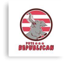 Vote Republican Elephant Mascot Circle Cartoon Canvas Print