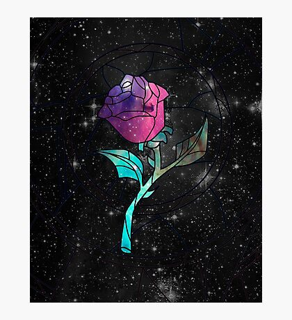 Stained Glass Rose Galaxy Photographic Print