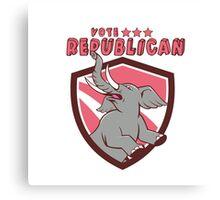 Vote Republican Elephant Mascot Shield Cartoon Canvas Print