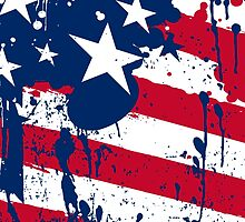 Drops Splash Colors America Flag  by CroDesign