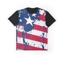 Drops Splash Colors America Flag  Graphic T-Shirt