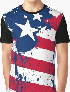 Drops Splash Colors America Flag  Graphic T-Shirt