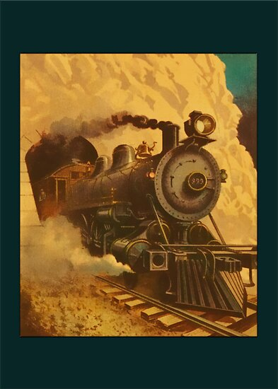 Vintage Steam Engine Greetings by Yesteryears