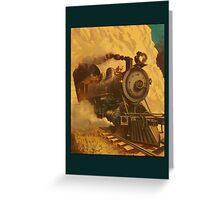 Vintage Steam Engine Greetings Greeting Card