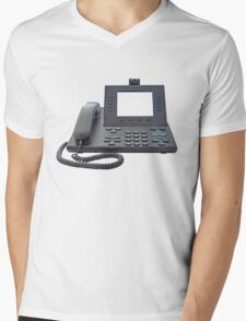 VoIP Phone with Blank Display Mens V-Neck T-Shirt