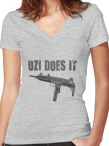 uzi does it Women's Fitted V-Neck T-Shirt