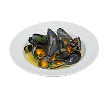 Moules Mariniere in a White Bowl Photographic Print