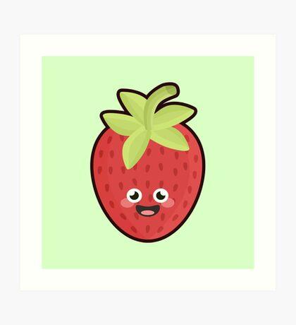 Kawaii Strawberry Art Print
