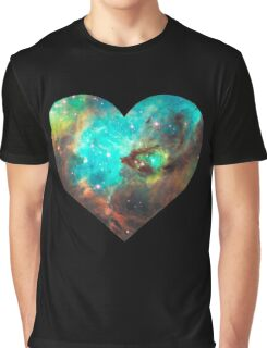 Green Galaxy Heart Graphic T-Shirt