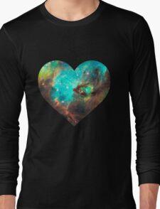 Green Galaxy Heart Long Sleeve T-Shirt