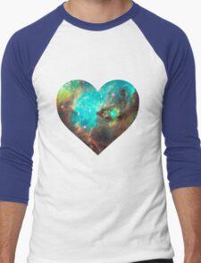 Green Galaxy Heart Men's Baseball ¾ T-Shirt