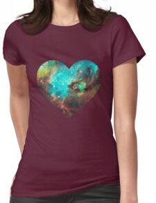 Green Galaxy Heart Womens Fitted T-Shirt