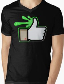 FACEBOOK X GHOSTBUSTERS (GB1 SLIMED) Mens V-Neck T-Shirt
