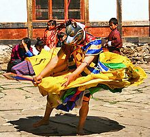 Mask Monk Dancer, Tashiling Festival, Eastern Himalayas, Central Bhutan by Carole-Anne