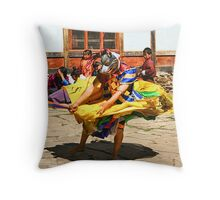 Mask Monk Dancer, Tashiling Festival, Eastern Himalayas, Central Bhutan Throw Pillow