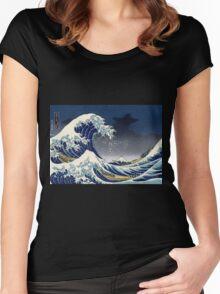 Great Wave: Kanagawa Night Women's Fitted Scoop T-Shirt