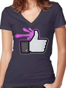 FACEBOOK X GHOSTBUSTERS (GB2 SLIMED) Women's Fitted V-Neck T-Shirt