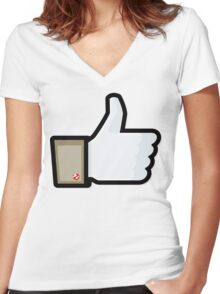 FACEBOOK X GHOSTBUSTERS (GB1) Women's Fitted V-Neck T-Shirt