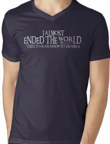 Almost Ended the World...Then I Took an Arrow to the Knee (v2) Mens V-Neck T-Shirt