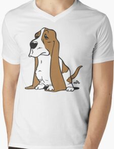 Basset cartoon dog Mens V-Neck T-Shirt