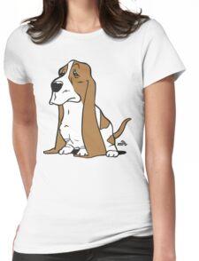 Basset cartoon dog Womens Fitted T-Shirt