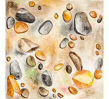 Watercolor Ground Stones Background Photographic Print