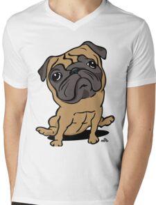 Cartoon Pug dog Mens V-Neck T-Shirt