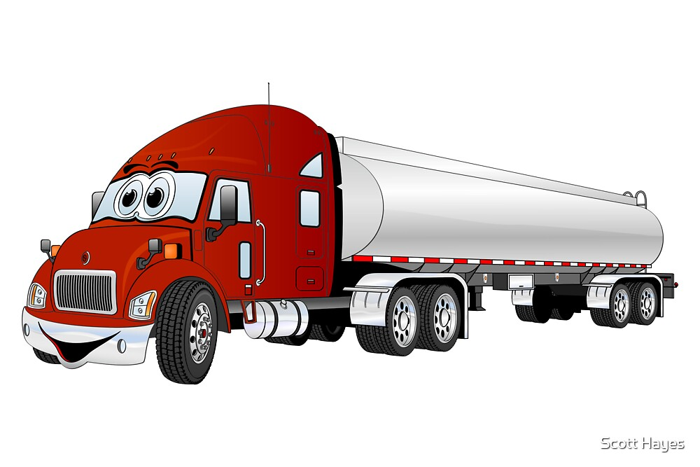 Semi Truck Red Silver Tanker Trailer Cartoon by Graphxpro
