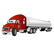 Semi Truck Red Silver Tanker Trailer Cartoon Photographic Print