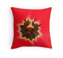 macro red tulip flower Throw Pillow