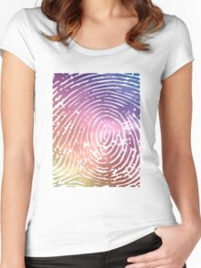 Rainbow Fingerprint. Women's Fitted Scoop T-Shirt
