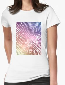 Rainbow Fingerprint. Womens Fitted T-Shirt