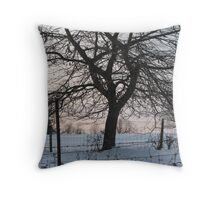 Oak in winter behind wire fence  Throw Pillow