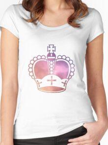 Rainbow Crown Sticker Women's Fitted Scoop T-Shirt