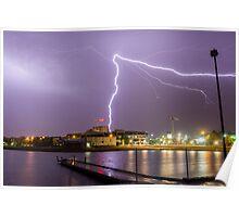 Lightning over Lake Ginninderra, Canberra Poster