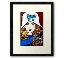 1920'S GIRL  FACES WITH DOG Framed Print