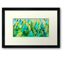 Watercolor Forest Background Framed Print