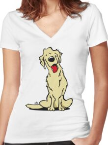 Cartoon Golden retriever dog Women's Fitted V-Neck T-Shirt