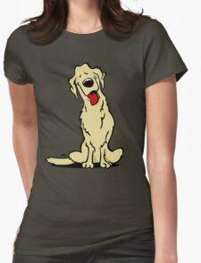Cartoon Golden retriever dog Womens Fitted T-Shirt