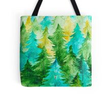 Watercolor Forest Background Tote Bag