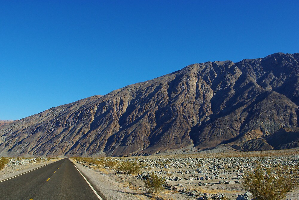 Highway and mountains, Death Valley by Claudio Del Luongo