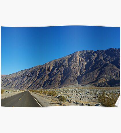Highway and mountains, Death Valley Poster